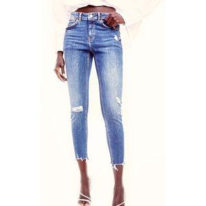 ZARA Z1975 Ripped Skinny Jeans Frayed Hem Crop